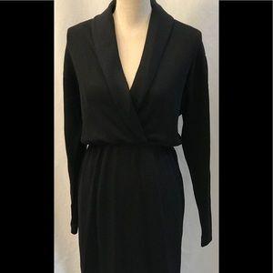 St John by Marie Gray Black Knit Wrap Dress Size 6